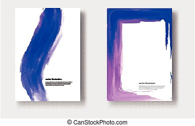 Vector watercolor brush stroke banner. Varnish splash line trace.
