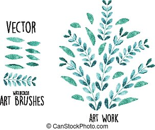 Vector watercolor brushes with leaves elements