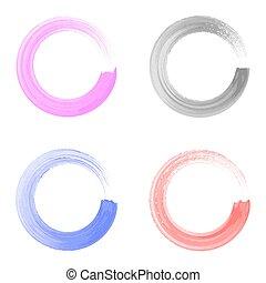 Vector watercolor circle brush strokes