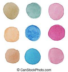Vector watercolor circle set, multicolored blot, stones