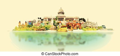 vector watercolor CUBA city illustration