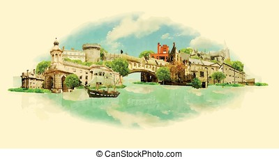vector watercolor DUBLIN city illustration