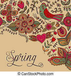 "Vector watercolor floral greeting card with ""Spring"" lettering."