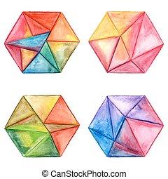 Vector Watercolor Geometric Hexagon Design Elements