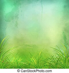 Vector Watercolor Green Grass Background