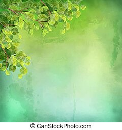 Vector Watercolor Green Leaves Background
