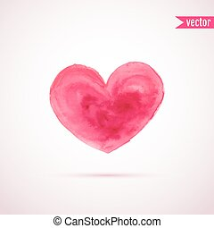 Vector watercolor heart for Valentine's day designs