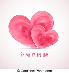 Vector watercolor hearts for Valentine's day cards designs