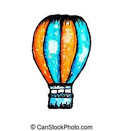 vector watercolor hot air balloon