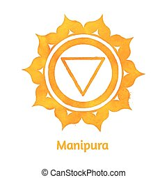 Manipura chakra. - Vector watercolor illustration of...