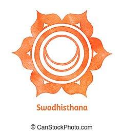 Swadhisthana chakra. - Vector watercolor illustration of ...