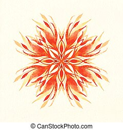 Vector watercolor illustration ornament.