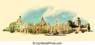 vector watercolor MADRID city illustration