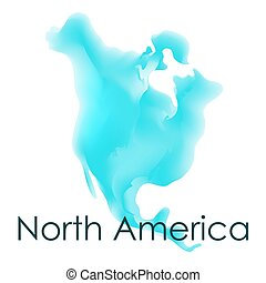 Vector watercolor map of North America on a white background.