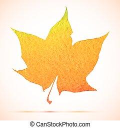 vector watercolor maple leaf