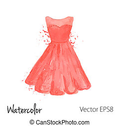Vector watercolor painted red dress - vector watercolor...