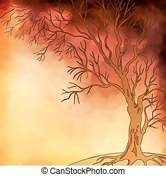 Vector watercolor painting autumn tree