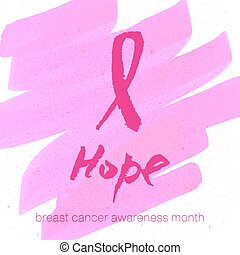 Vector watercolor pink ribbon - breast cancer awareness symbol