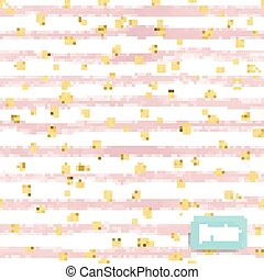 Vector watercolor pink stripes, with gold glitter circle on white background. Seamless pattern.