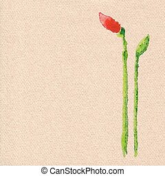 Vector watercolor poppy flower hand drawing on realistic cardboard rough brown paper