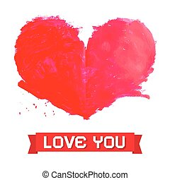 Vector Watercolor Red Heart Isolated on White Background with Love You Paper Title
