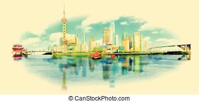 vector watercolor SHANGHAI city illustration