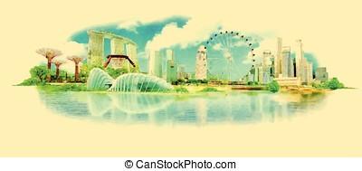 vector watercolor SINGAPORE city illustration