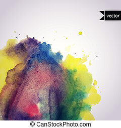 Vector watercolor texture. Grunge paper template. Wet paper. Banner. Blobs, stain, paints blot. Backdrop for scrapbook elements with space for text. Watercolor composition.