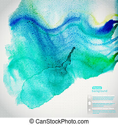 Vector watercolor texture. Grunge paper template. Wet paper. Blobs, stain, paints blot. Looks like ocean water, maritime theme. Backdrop for scrapbook elements with space for text message. Banner.