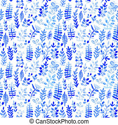 Vector watercolor texture with flowers. Floral pattern....