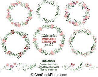 Vector watercolor wreaths and separate floral elements for ...