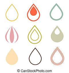 vector, waterdruppels, iconen, set, in, retro stijl