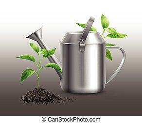 Vector watering can - Vector illustration of metal watering...