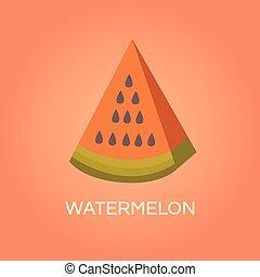 vector, watermeloen, illustratie