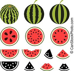 vector watermelon icons set