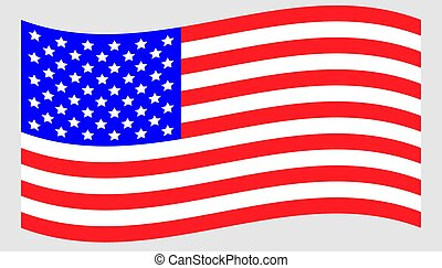 Vector waving american flag icon