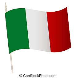 Vector Waving flag on a flagpole. The national flag of Italy.