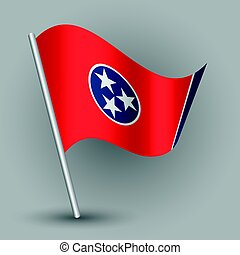 vector waving simple triangle american state flag on slanted silver pole - icon of tennessee with metal stick