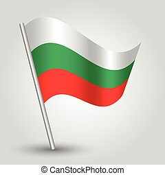vector waving simple triangle bulgarian flag on pole - national symbol of bulgaria with inclined metal stick