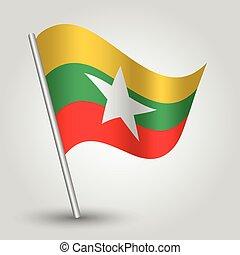 vector waving simple triangle burmese flag on pole -...