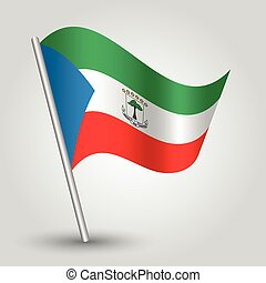 vector waving simple triangle guinean flag on slanted silver...