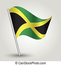 vector waving simple triangle jamaican flag on pole -...