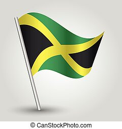 vector waving simple triangle jamaican flag on pole -...