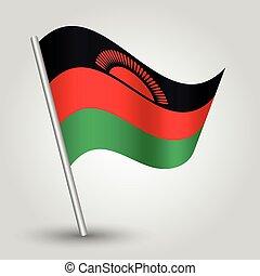 vector waving simple triangle malawian flag on slanted...