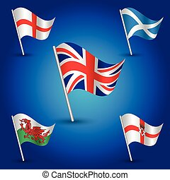 vector waving simple triangle set flags united kingdom of great britain - flag england, scotland, wales and northem ireland - on pole