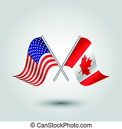 vector waving simple triangle two crossed american and canadian  flags on slanted silver pole - icon united states of america and canada