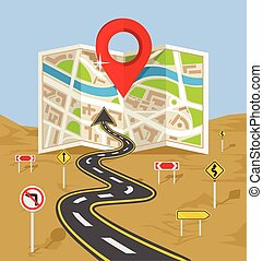 Vector wavy road with map flat illustration