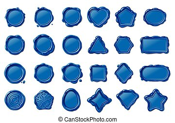 vector wax seal stamps set