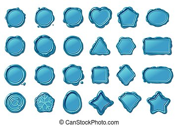 vector wax seal stamps set