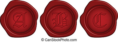 Vector wax seal with letter